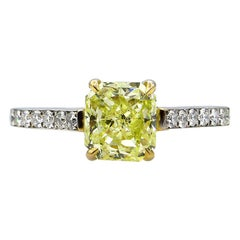 GIA 1.98 Carat Fancy Yellow Radiant Cut Diamond Solitaire Platinum Ring