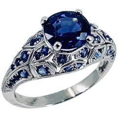 GIA 1.99 Carat Mixed Cut Sapphire in Edwardian-Style Platinum Setting