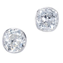 GIA 1.99 Carat Old Mine Brilliant Cut Diamond Bezel Stud Platinum Earrings