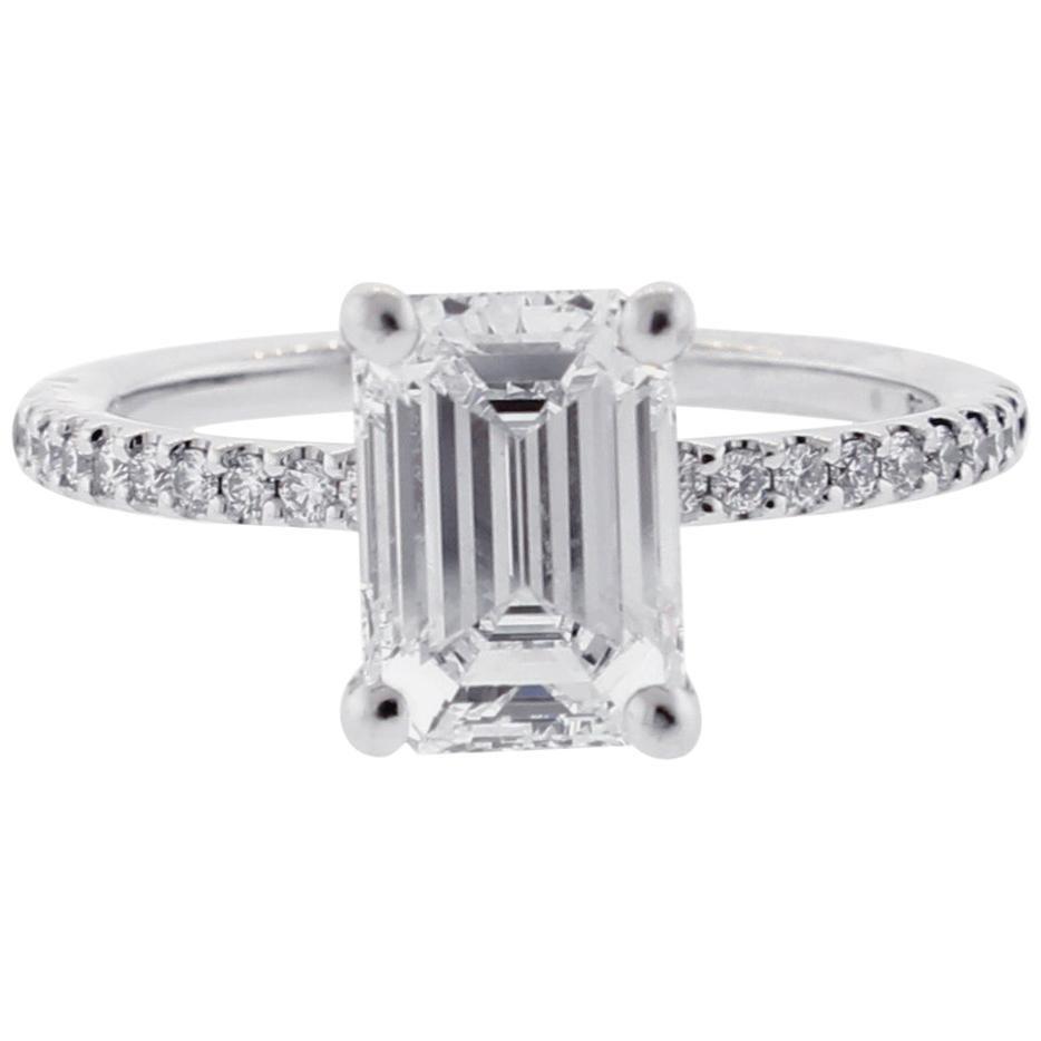 GIA 2 Carat Emerald Cut Diamond Engagement Ring