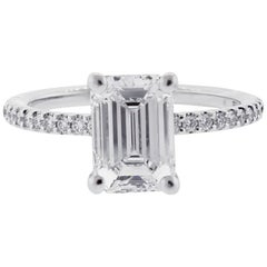 GIA 2 Carat Emerald Cut Diamond Engagement Ring