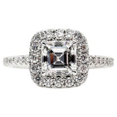 GIA 2.0 Carat Asscher Square Emerald Diamond Solitaire Engagement White Gold