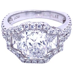 GIA 2.0 Carat F/SI1 Radiant Platinum 3-Stone Double Shank Ring with Halo