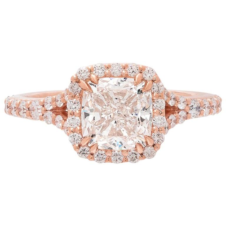 GIA 2.00 Carat I/VVS1 Cushion Diamond Engagement Ring For Sale