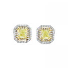 GIA 2.00 Carat Total Radiant Cut Fancy Light Yellow Diamond Two-Tone Earring