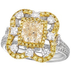 GIA 2.00 Carat W-X Cushion Center, Cocktail Ring in 18 Karat Gold and Diamond
