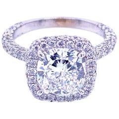 GIA 2.01 Carat D/SI1 Cushion Diamond 18 Karat Pave Set Engagement Ring with Halo