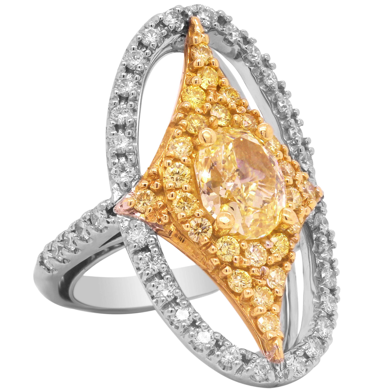 GIA 2.01 Carat Fancy Yellow Diamond Oval Ring with Yellow Diamonds Platinum