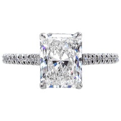 GIA 2.01 Carat Radiant Cut Diamond Pave Solitaire Platinum Wedding Ring