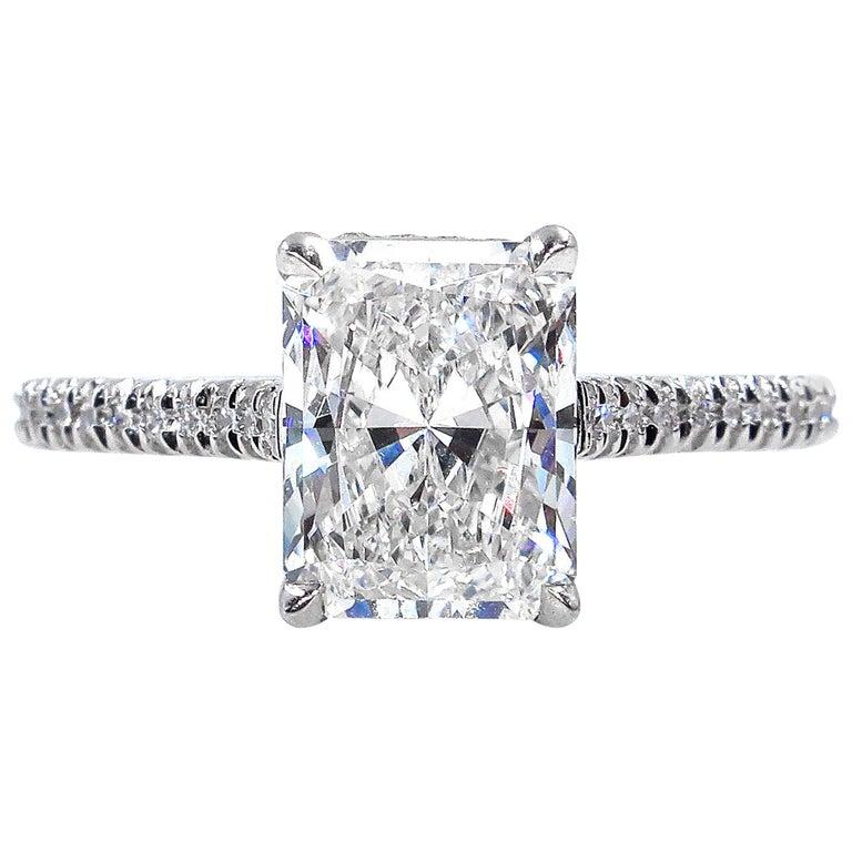 GIA 2.01 Carat Radiant Cut Diamond Pave Solitaire Platinum Wedding Ring For Sale