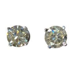 GIA 2.01 Carat Round Brilliant Cut Diamond Stud Earrings