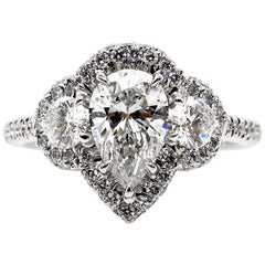 GIA 2.01 Carat Pear Shaped Diamond Three-Stone Wedding White Gold Ring