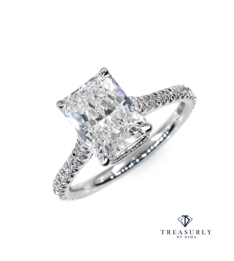 This ring is just breathtaking and SUPER Fine and truly show stopper, 2.01ct in total! A Beautiful and Elegant Solitaire Elongated Radiant Cut Diamond Ring with 1.71ct GIA CERTIFIED I Color VS1 Clarity (Near-colorless, eye clear), 100% NATURAL. The
