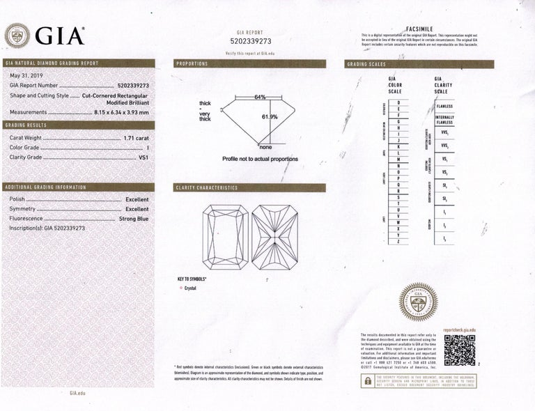 Women's GIA 2.01 Carat Radiant Cut Diamond Pave Solitaire Platinum Wedding Ring For Sale