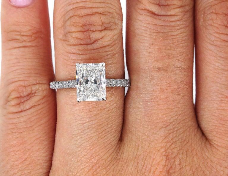 GIA 2.01 Carat Radiant Cut Diamond Pave Solitaire Platinum Wedding Ring For Sale 2