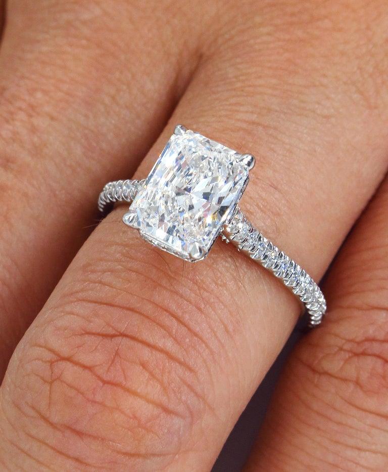 GIA 2.01 Carat Radiant Cut Diamond Pave Solitaire Platinum Wedding Ring For Sale 3
