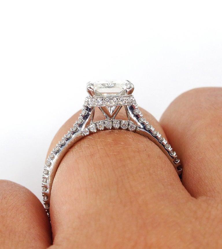 GIA 2.01 Carat Radiant Cut Diamond Pave Solitaire Platinum Wedding Ring For Sale 5