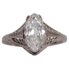 GIA 2.02 Carat Art Deco Antique Marquise Brilliant Diamond Engagement Ring