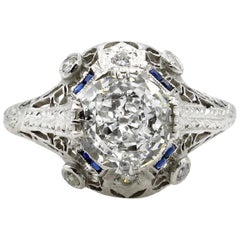 GIA 2.02 Carat Old European Diamond and Sapphire Engagement Platinum Ring
