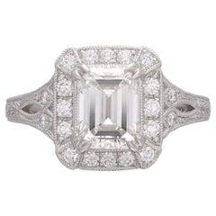 GIA 2.02ct Emerald Cut Diamond Platinum Ring