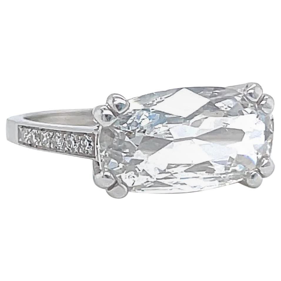 GIA 2.03 Carat Cushion Cut Diamond Platinum East West Engagement Ring