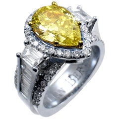 GIA 2.03 Ct Fancy Intense Yellow Pear Shaped Platinum Engagement Ring w. 2 Traps