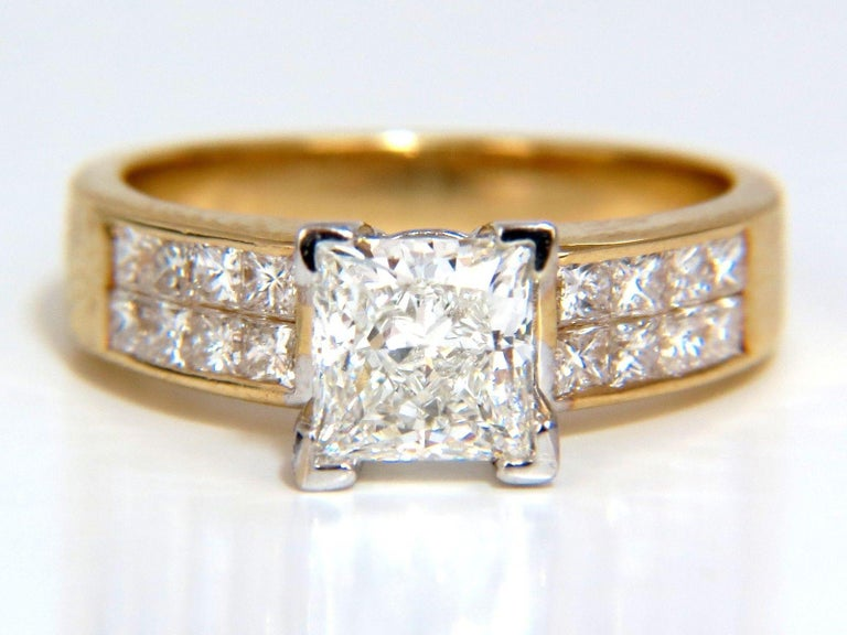 GIA 2.03 Carat Princess Cut Diamonds Ring and Channel Side Diamonds Brilliant For Sale 8