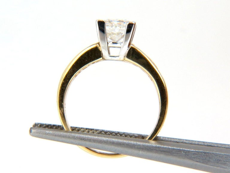 GIA Certified:  1.03Ct Natural Princess Cut diamonds ring.  Report # 2145776269  Stating: H-color Si-1 clarity.  Excellent Polish   Very Good Symmetry.      1.00ct. Side princess cut diamonds:  H-color Vs-2 clarity.    14kt. yellow gold   3.6