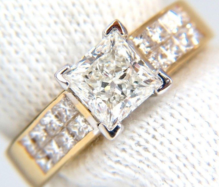 GIA 2.03 Carat Princess Cut Diamonds Ring and Channel Side Diamonds Brilliant In New Condition For Sale In New York, NY