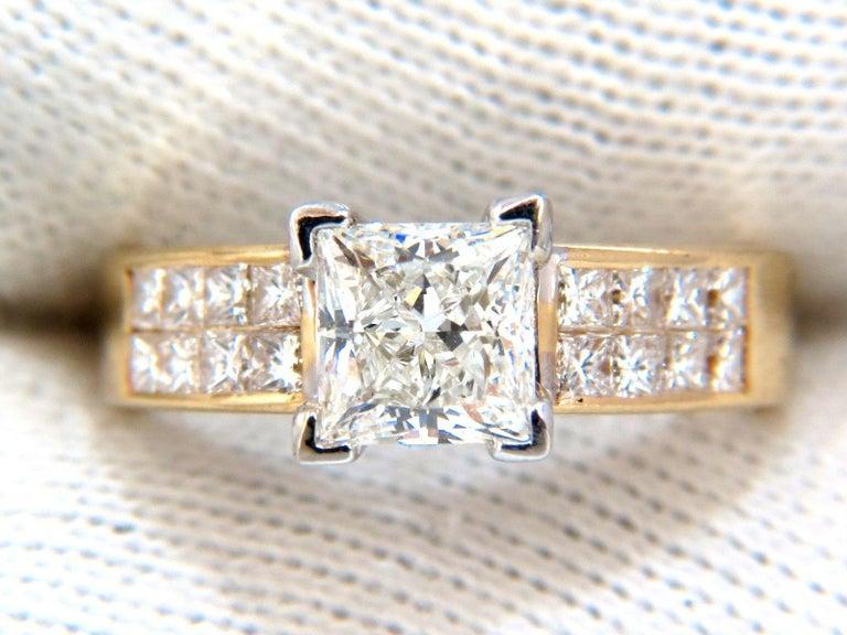Women's or Men's GIA 2.03 Carat Princess Cut Diamonds Ring and Channel Side Diamonds Brilliant For Sale