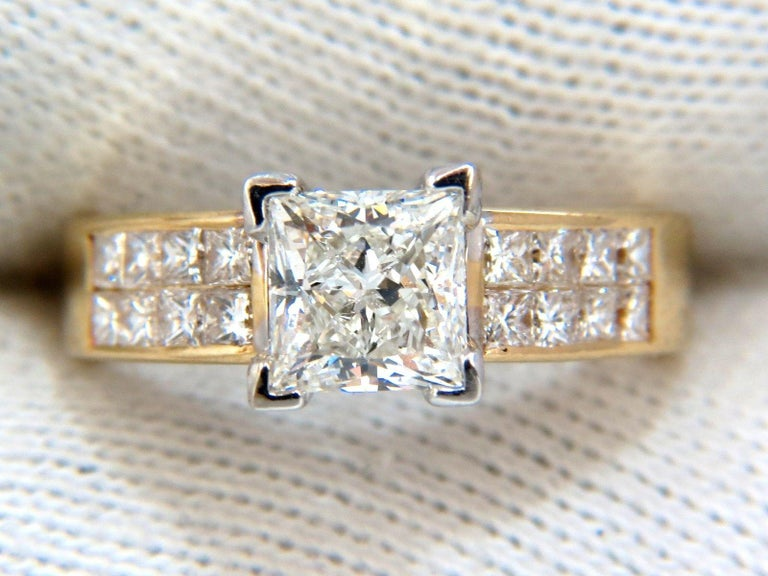 GIA 2.03 Carat Princess Cut Diamonds Ring and Channel Side Diamonds Brilliant For Sale 1
