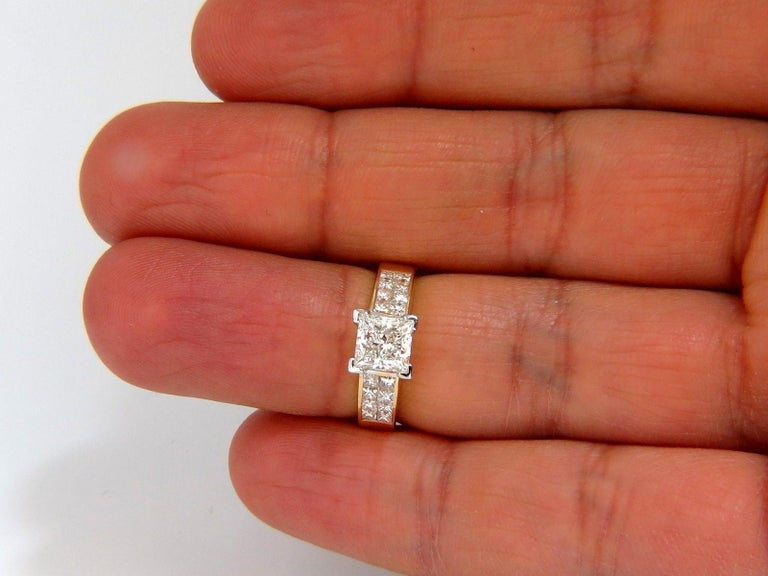 GIA 2.03 Carat Princess Cut Diamonds Ring and Channel Side Diamonds Brilliant For Sale 2