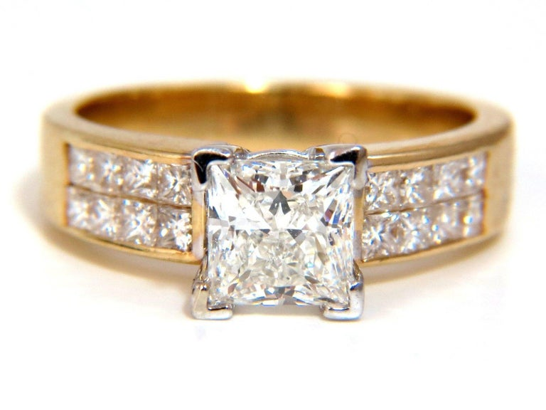 GIA 2.03 Carat Princess Cut Diamonds Ring and Channel Side Diamonds Brilliant For Sale 3