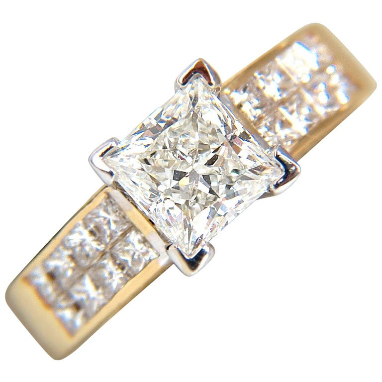 GIA 2.03 Carat Princess Cut Diamonds Ring and Channel Side Diamonds Brilliant For Sale