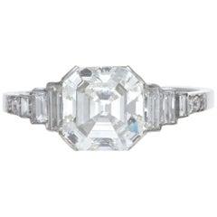 GIA 2.03 Carat Square Emerald Cut Diamond Platinum Engagement Ring