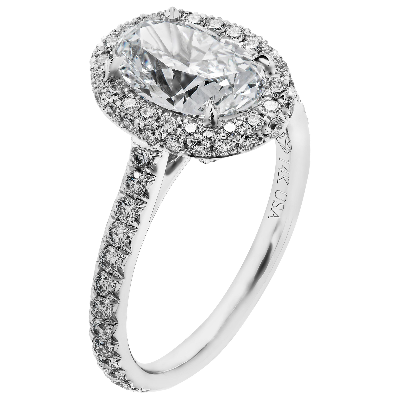 GIA 2.04 Carat D VS2 Oval Diamond Engagement Ring