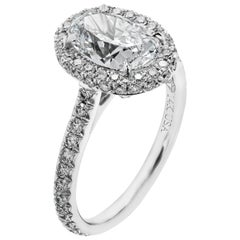 GIA 2.04 Carat D VS2 Oval Diamond Engagement Ring