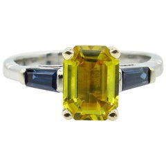 GIA 2.06 Carat Estate Yellow Blue Sapphire Engagement Wedding Plat Yellow Gold