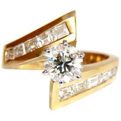 GIA 2.06 Carat Round Diamond Crossover Ring Baguettes 14 Karat VVS
