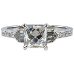 GIA 2.07 Carat Vintage French Cut Diamond Art Deco Style Trilogy Engagement Ring
