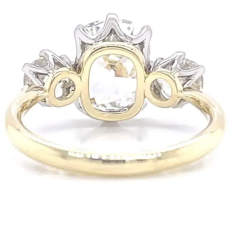 GIA 2.08 Carat Antique Cushion Cut Diamond 18k Gold Three Stone Engagement Ring For Sale 2