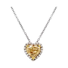 GIA 2.09 Fancy Light Yellow Heart Diamond Pave Set Heart Necklace