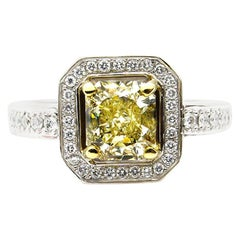 GIA 2.0ctw Estate Vintage Natural Fancy Yellow Radiant Diamond Engagement Weddin