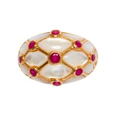 GIA 20th Century 14k Gold, Ruby and Mother of Pearl Ring