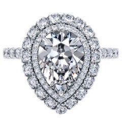 Bespoke GIA 2 Carat Pear Shape F Color Halo Diamond Engagement Ring Platinum