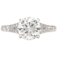 GIA 2.11 Carat F/SI1 Round Brilliant Cut Diamond Engagement Ring