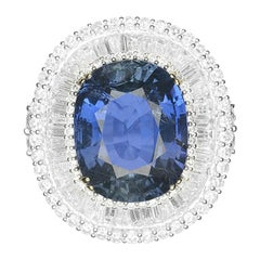 GIA 21.41 Carat No Heat Natural Ceylon Blue Sapphire 18 Karat White Gold Ring
