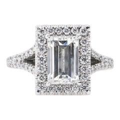 GIA 2.14ct Estate Vintage Carrè Emerald Diamond Engagement Wedding Platinum Ring