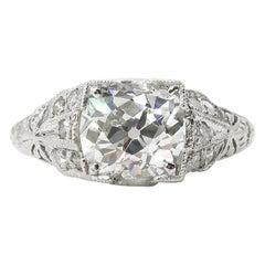 GIA 2.15 Carat Edwardian Old Mine Cushion Brilliant Diamond Ring Platinum Ring