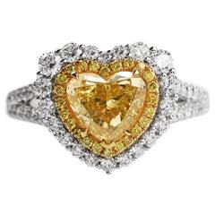 GIA 2.16 Carat Fancy Yellow Heart Diamond 18 Karat Gold Engagement Ring